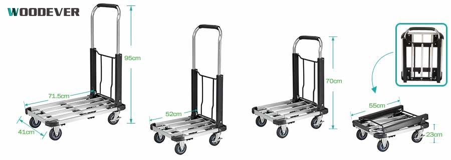 FW-90 adjustable platform cart folding and extend size dimension