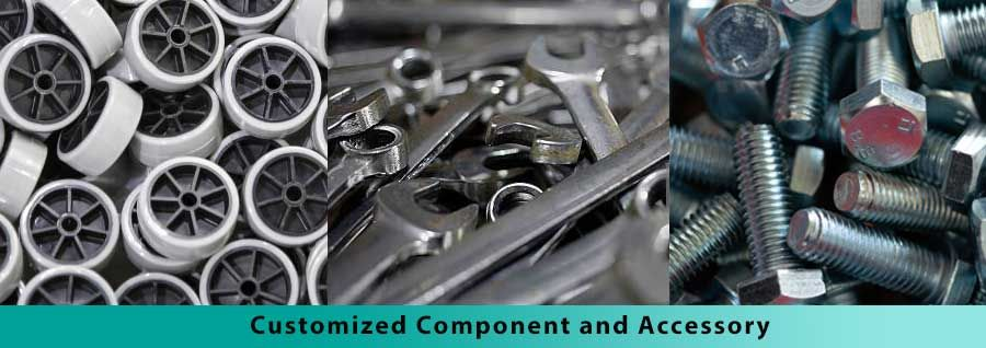 Customized hand truck component such as caster TPR wheel, bolt hard wear, wrench hand tool